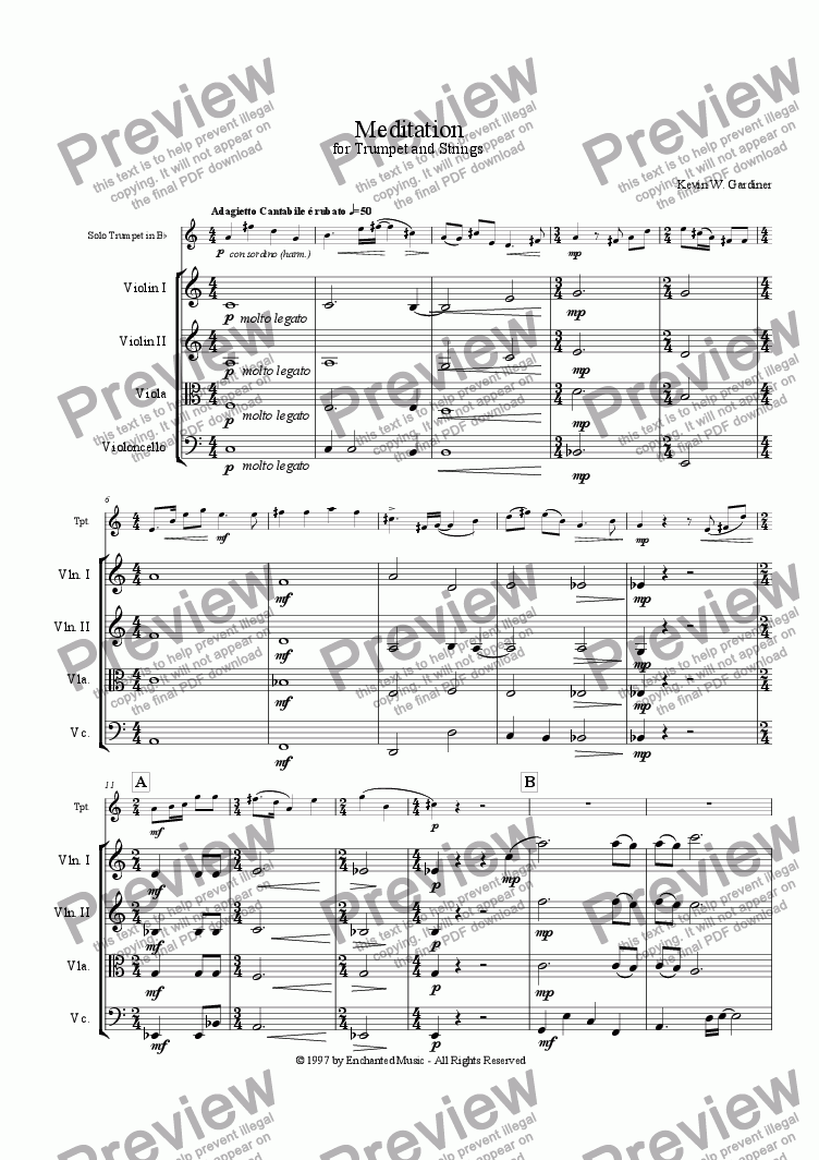 page one of Meditation for Solo Trumpet & StringsASALTTEXT