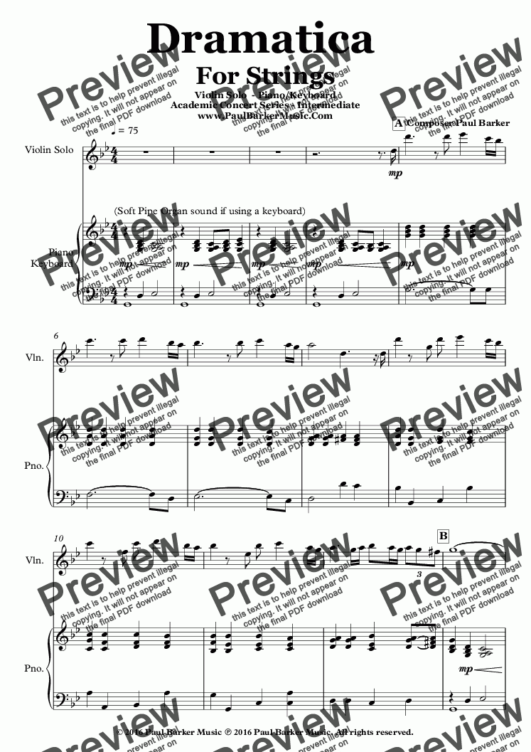page one of Dramatica For Violin Solo & Piano/Keyboard