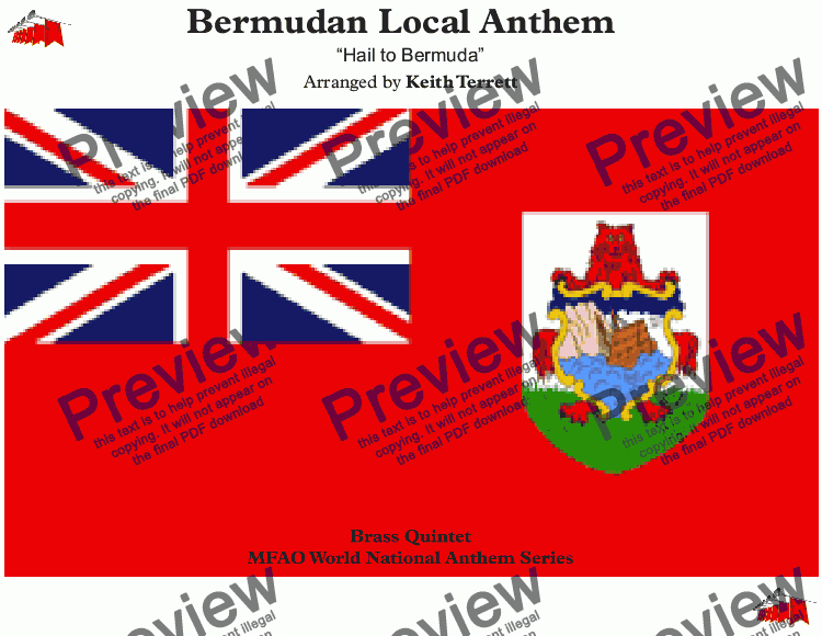 "page one of Bermudan Local Anthem (""Hail to Bermuda"") for Brass Quintet"