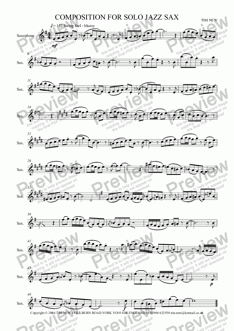 page one of COMPOSITION FOR SOLO JAZZ SAX