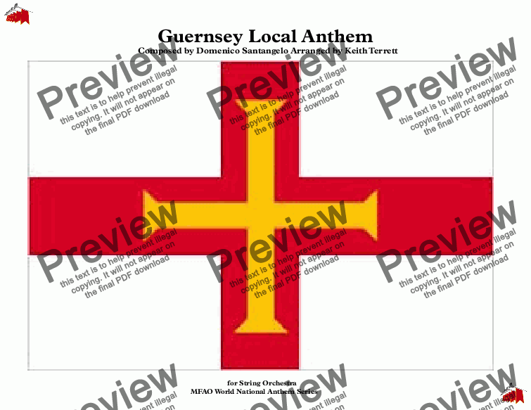 page one of Guernsey Local Anthem ''Sarnia Cherie'' for String Orchestra & Percussion