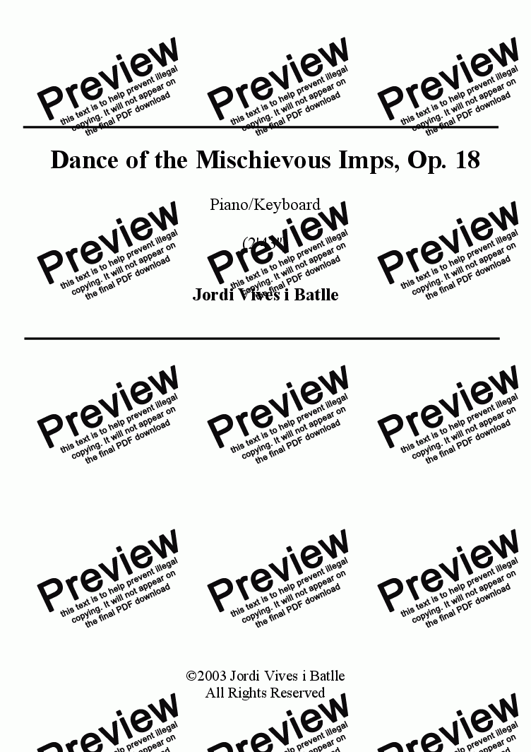 page one of Dance of the Mischievous Imps, Op. 18ASALTTEXT