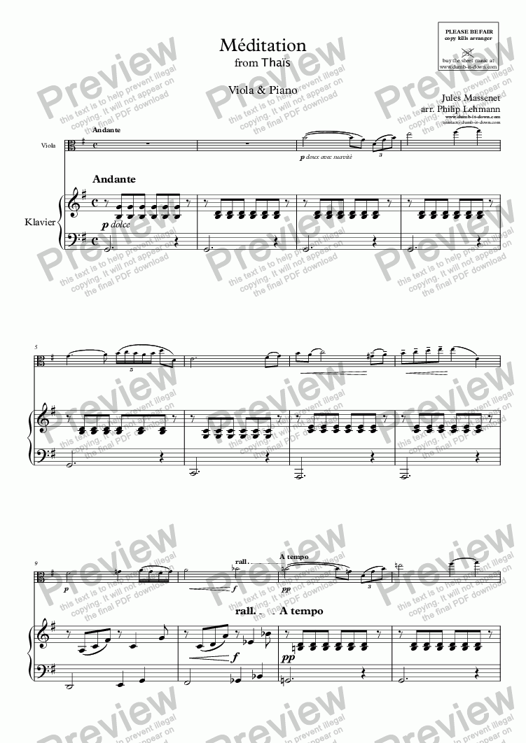 page one of Massenet, J. - Meditation from 'Thais' - vers. in G-maj. for Viola (orig) & Piano (simplified)ASALTTEXT