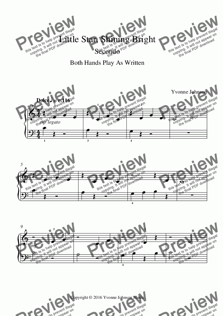 page one of Little Star, Shining Bright - A Piano Duet For Beginners
