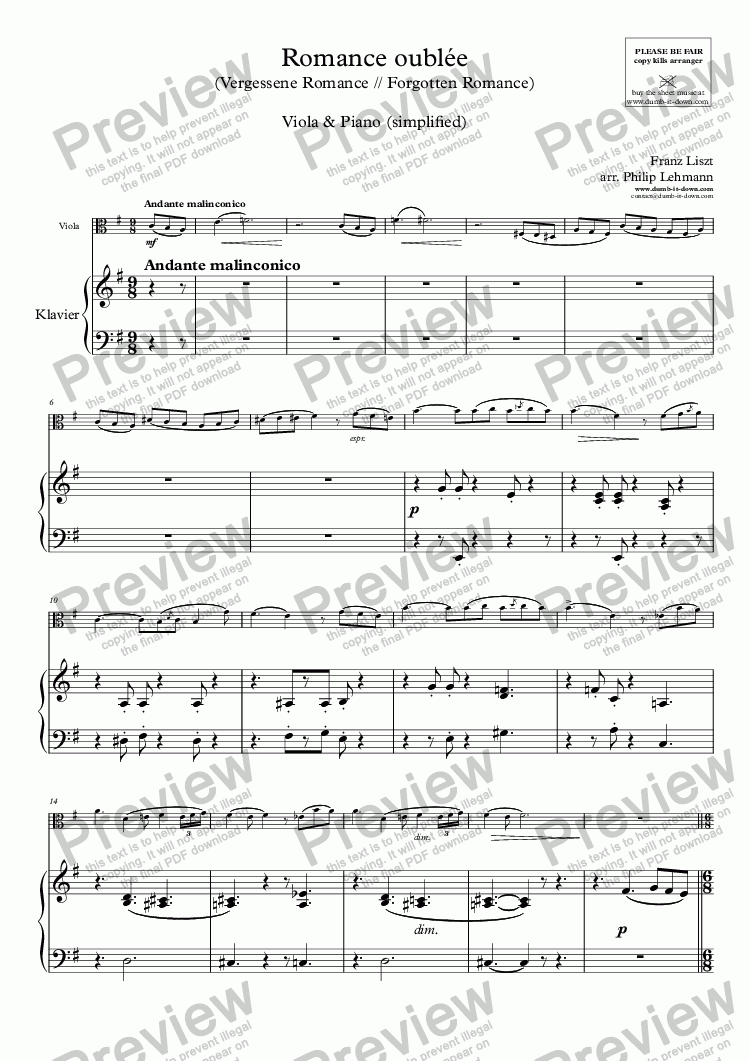 page one of Liszt, F. - Romance oubliee (Forgotten Romance) - for Viola (orig.) & Piano (simplified)ASALTTEXT