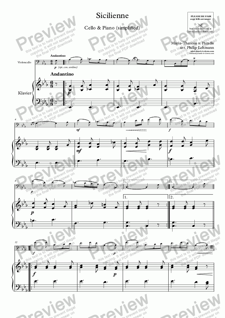 page one of Paradis, M.T.v. - Sicilienne - for Cello (orig.) & Piano (simplified)