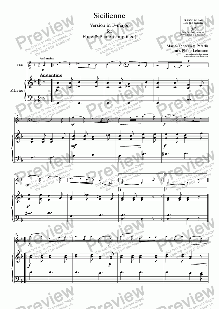 page one of Paradis, M.T.v. - Sicilienne - vers. in F-maj. for Flute (orig.) & Piano (simplified)ASALTTEXT