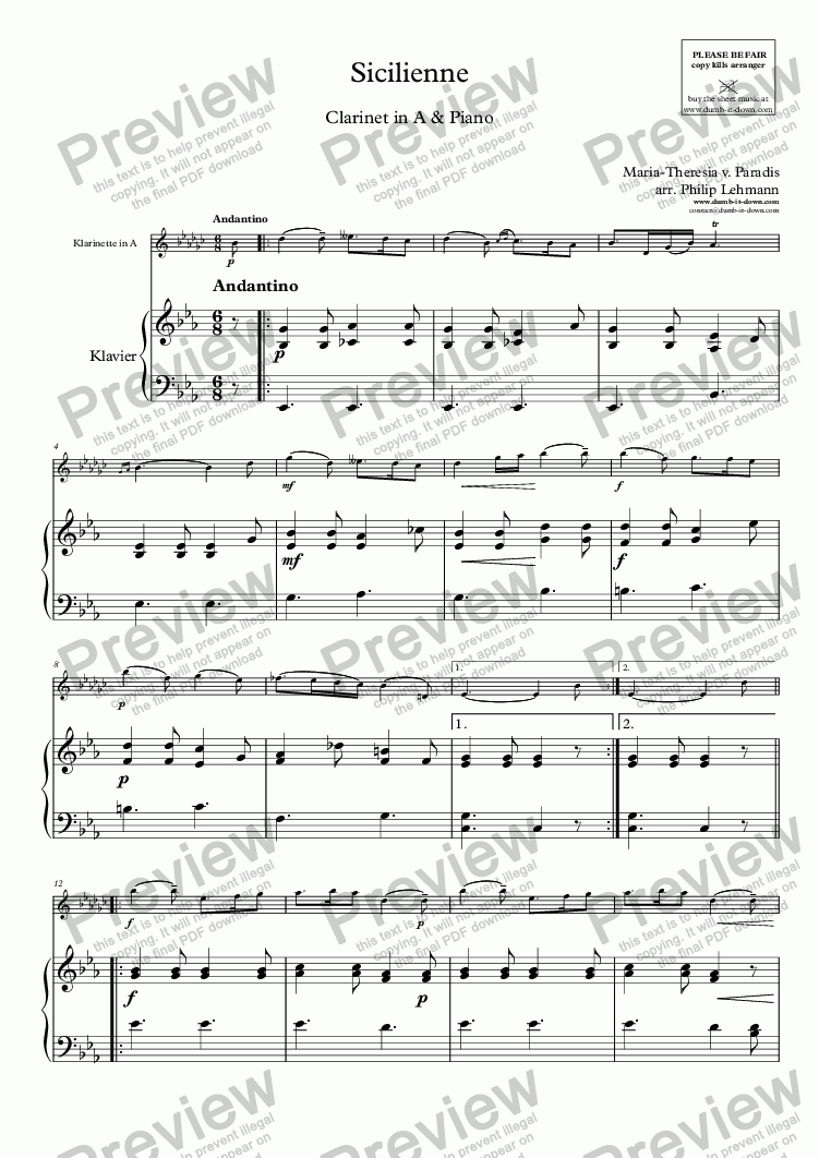 page one of Paradis, M.T.v. - Sicilienne - for Clarinet in A (orig.) & Piano (simplified)ASALTTEXT