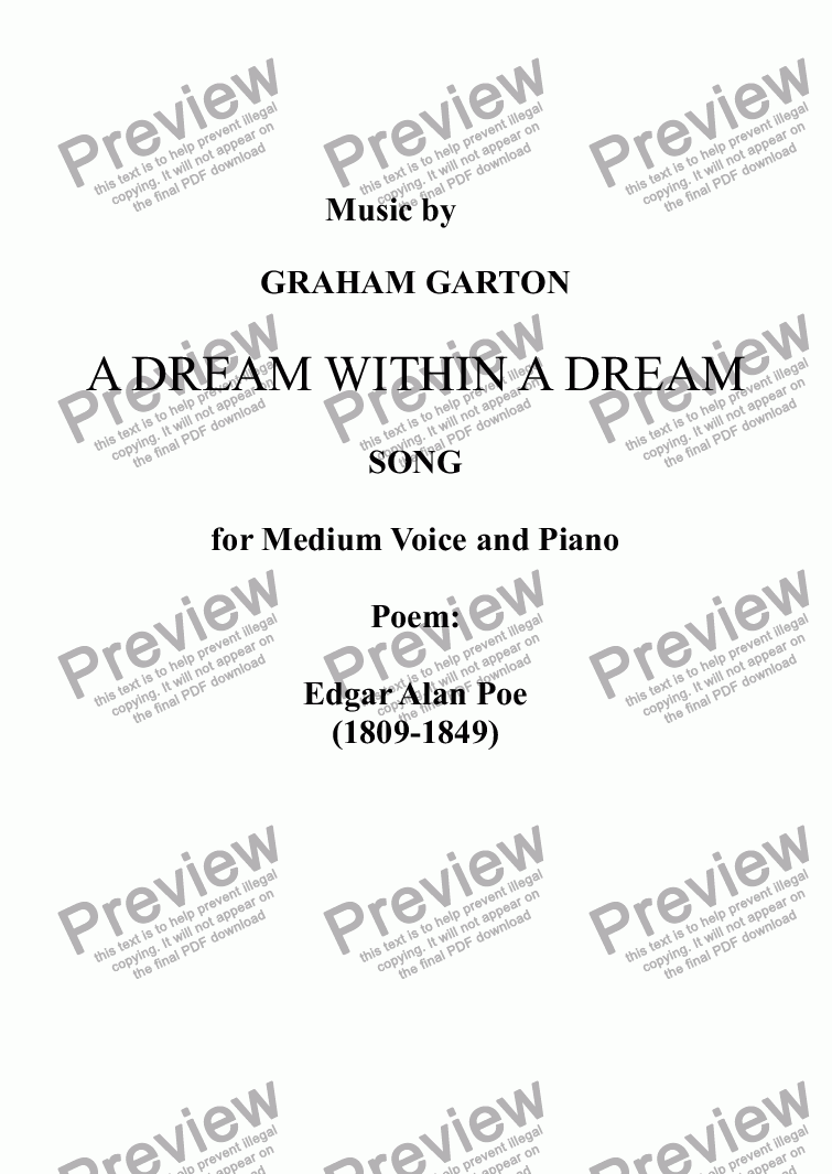page one of SONG - 'A DREAM WITHIN A DREAM' for Medium Voice and Piano. Poem: Edgar Alan Poe (1809-1849)