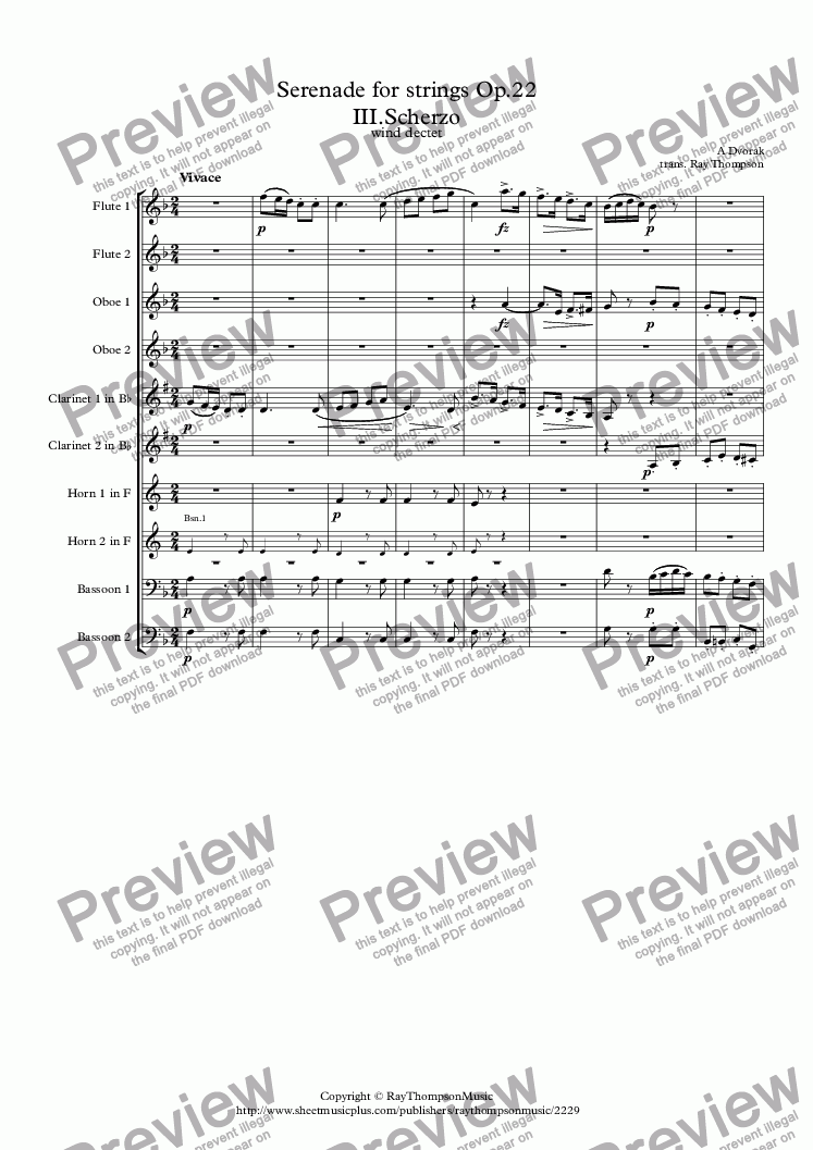 page one of Dvorak: Serenade for Strings Op.22 Mvt.III.Scherzo - wind dectet