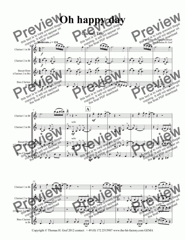Oh happy day - Christmas Song - Gospel - Clarinet Trio for Clarinet choir  by trad / Edward Francis Rimbault Arr  Thomas H  Graf - Sheet Music PDF  file