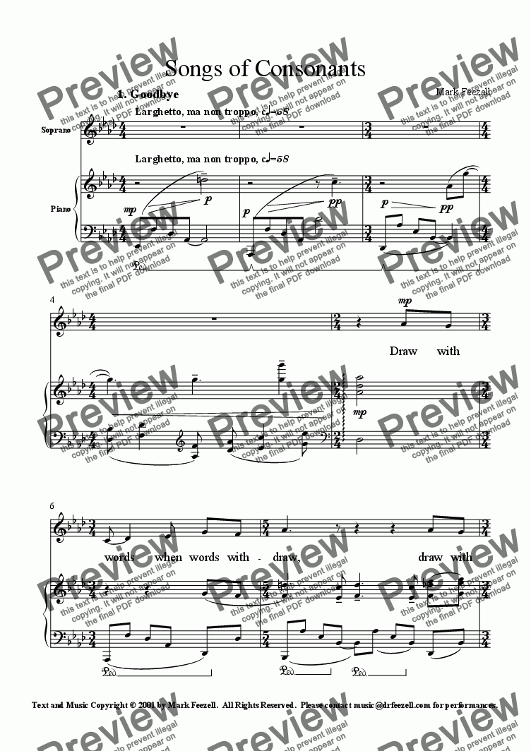 page one of Songs of Consonants for mezzo-soprano and piano (2001)ASALTTEXT