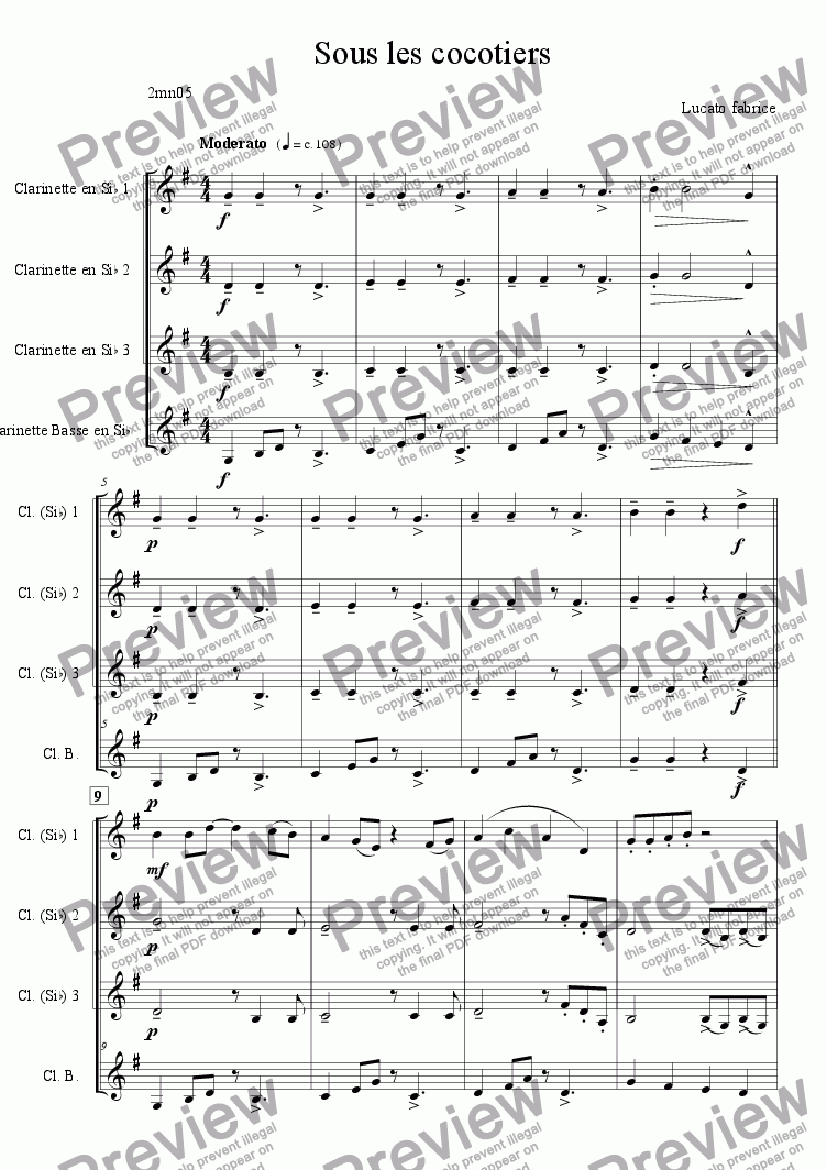 page one of Under the coconuts quatuor clarinettesASALTTEXT
