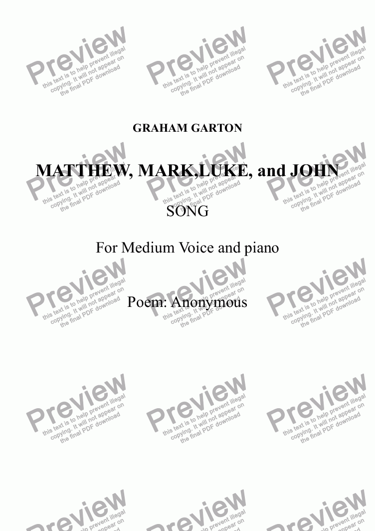 page one of SONG - 'MATTHEW, MARK,LUKE, and JOHN' Setting for medium Voice and Piano. Poem: AnonymousASALTTEXT