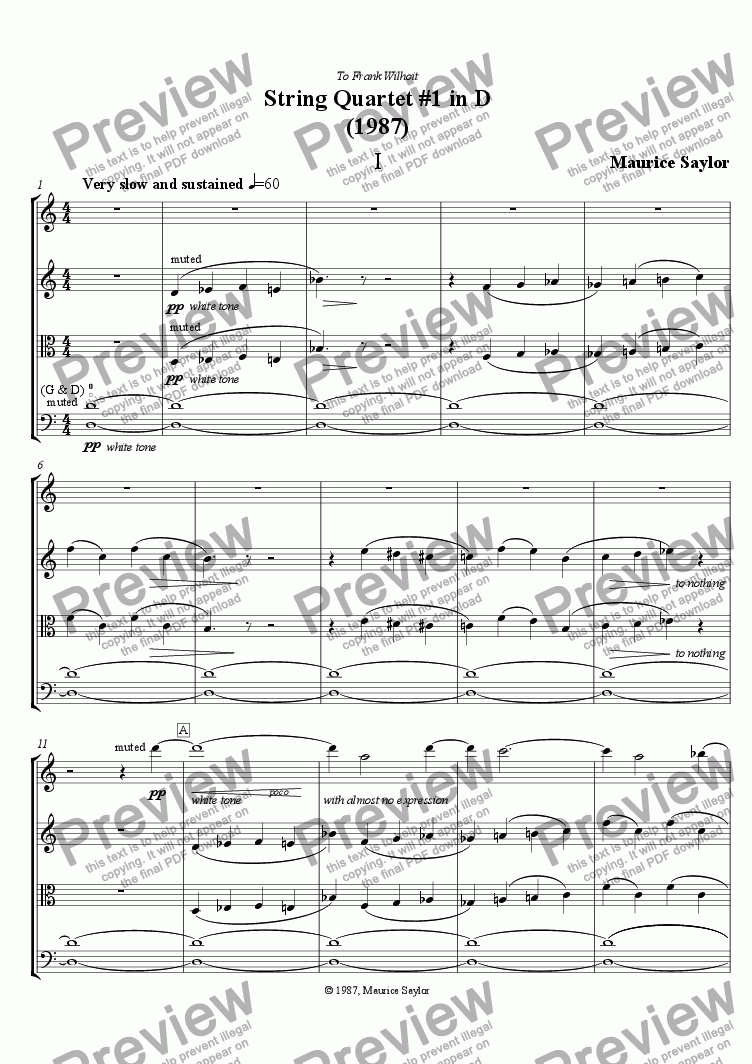 page one of String Quartet #1 in D (1987)