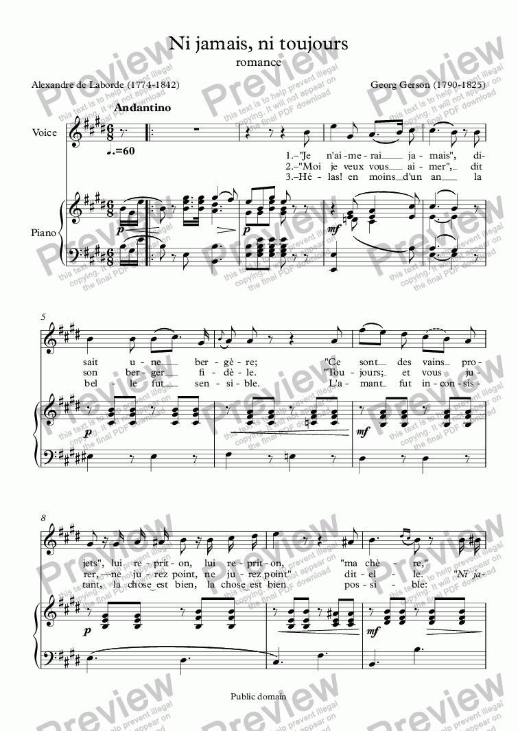page one of Ni jamais, ni toujours (Georg Gerson / Alexandre de Laborde)