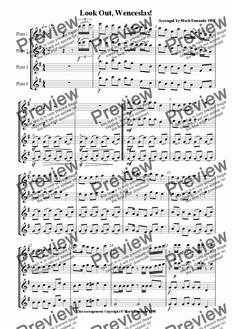 page one of Look Out, Wenceslas! Flute Choir/Quartet