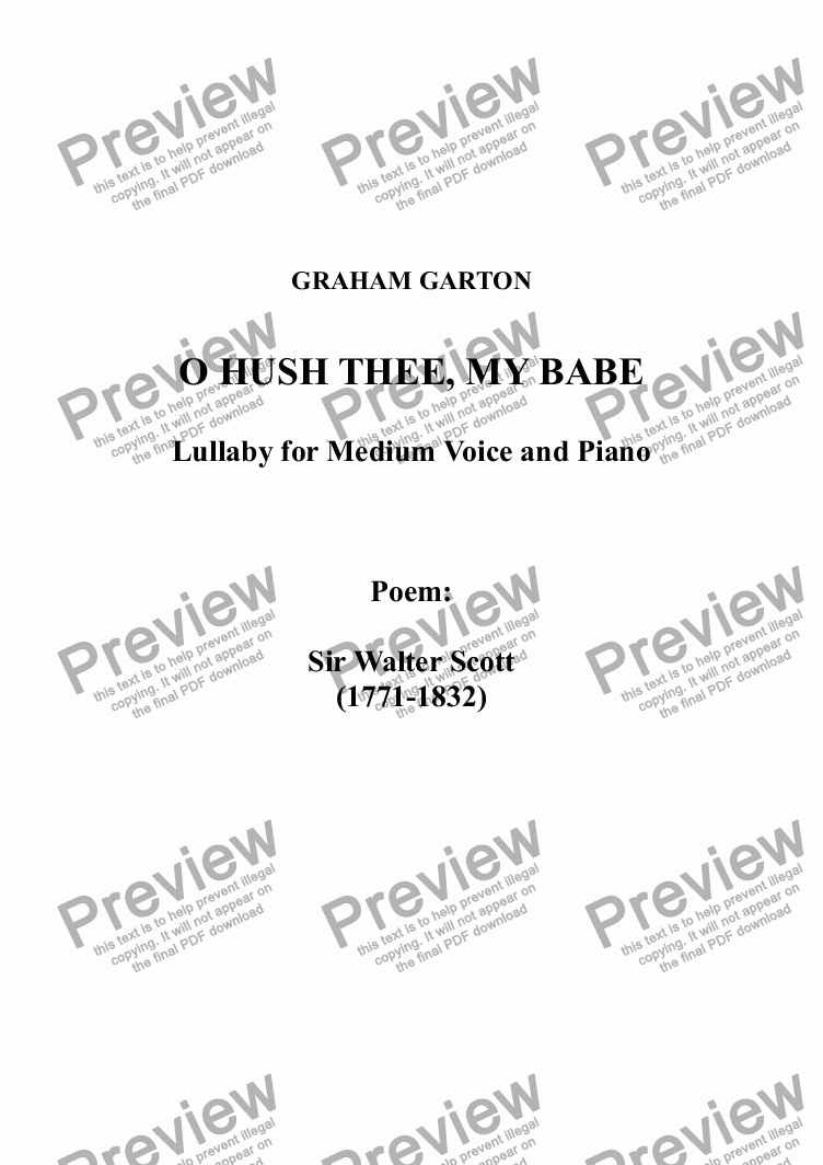 page one of CAROL - LULLABY - 'O HUSH THEE, MY BABIE' for Medium Voice with Piano. Poem: Sir Walter Scott (1771-1832)ASALTTEXT