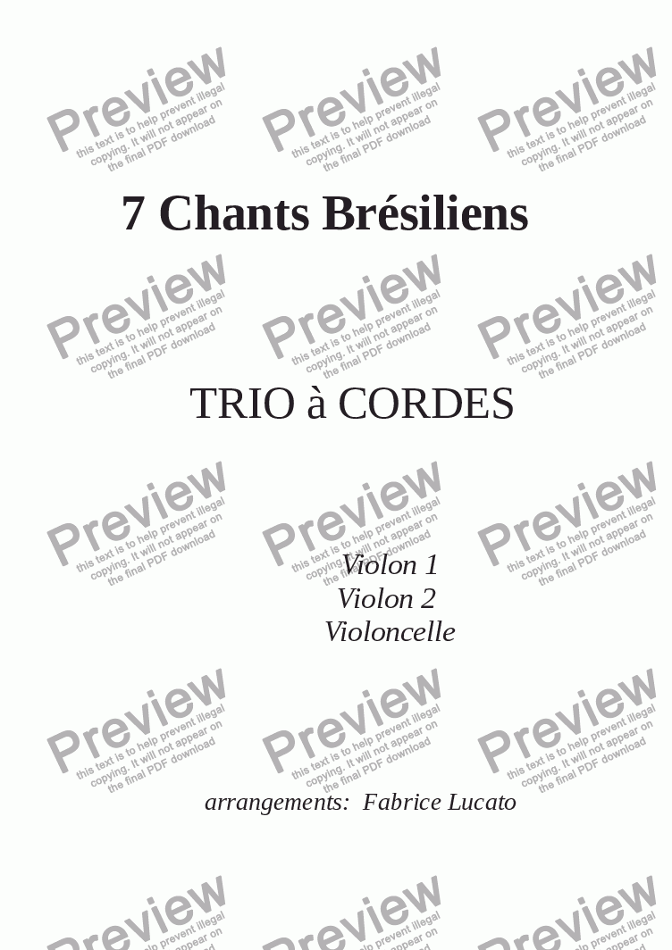 page one of 7 Chants Brésiliens TRIO CORDESASALTTEXT