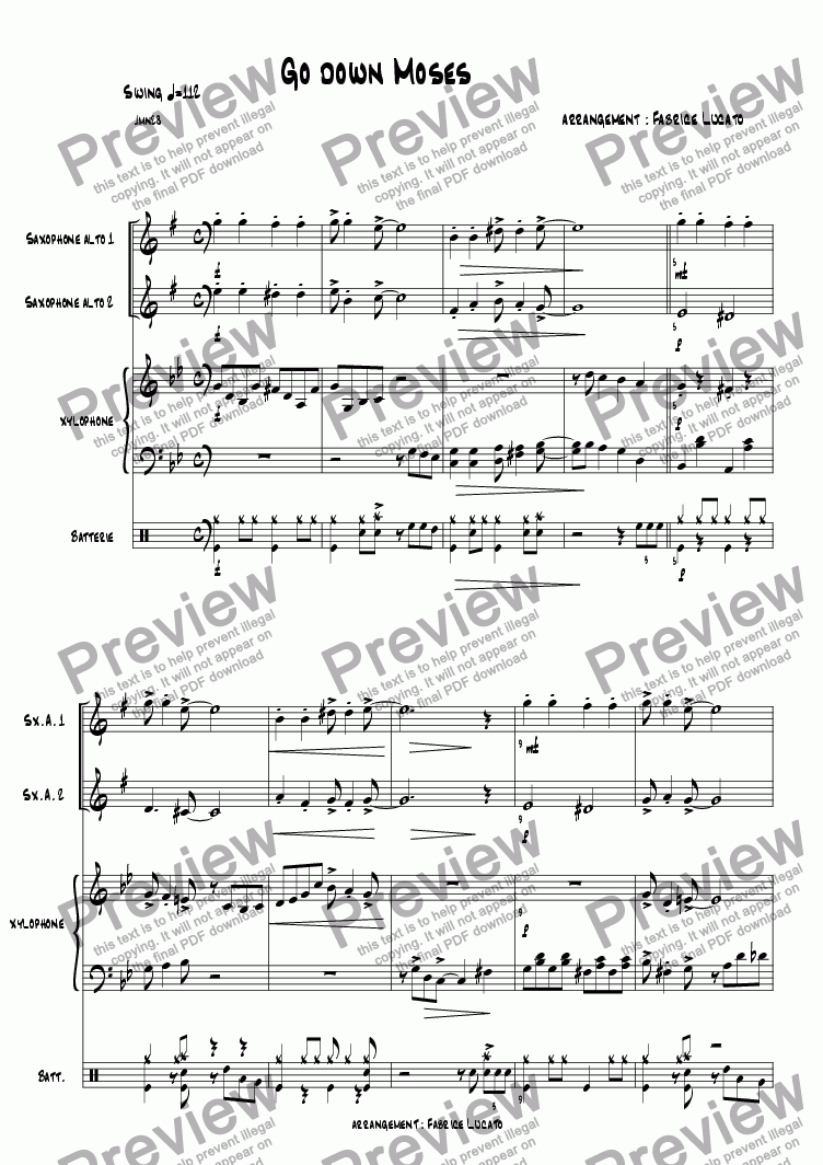 page one of GO down moses  DUO saxophones PercussionsASALTTEXT