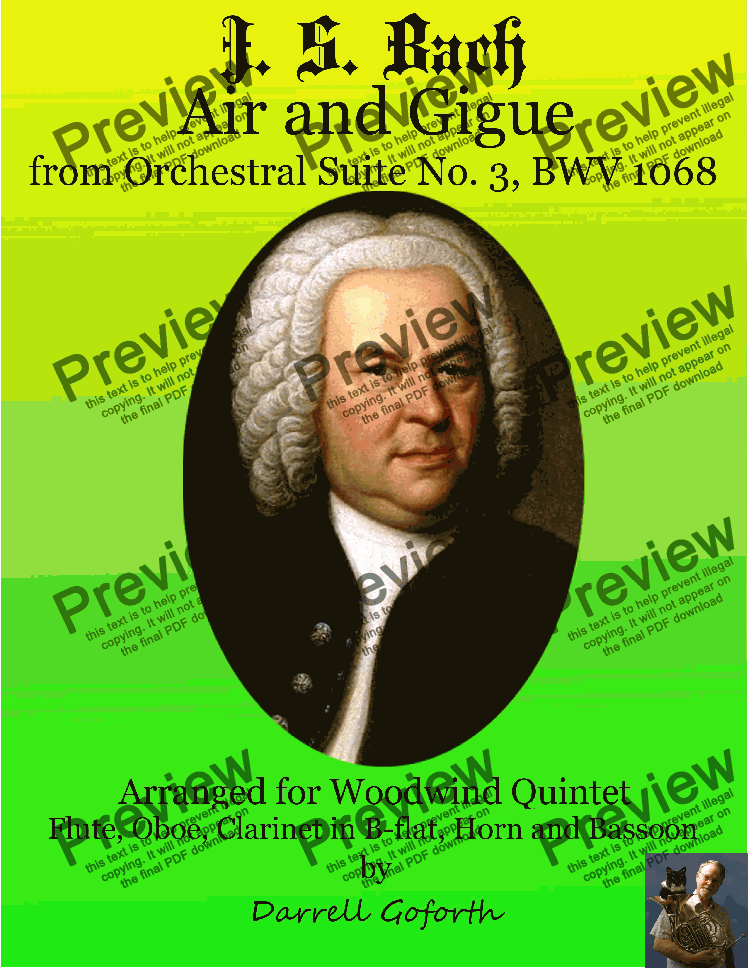 page one of Bach: Air and Gigue from Orchestral Suite No. 3 for Woodwind QuintetASALTTEXT