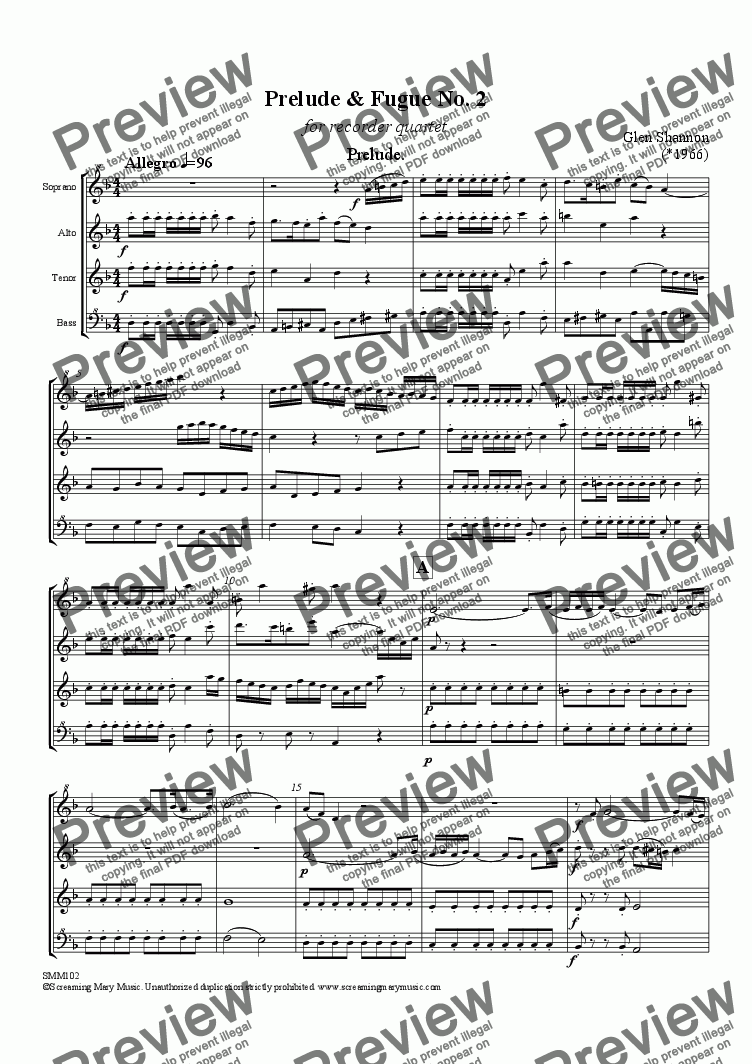 page one of Prelude & Fugue No. 2 for Recorder Quartet