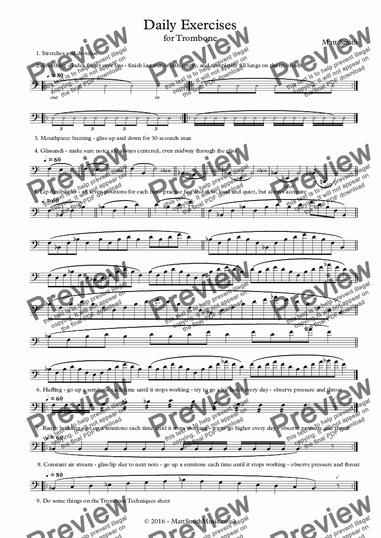page one of Daily Exercises for Trombone