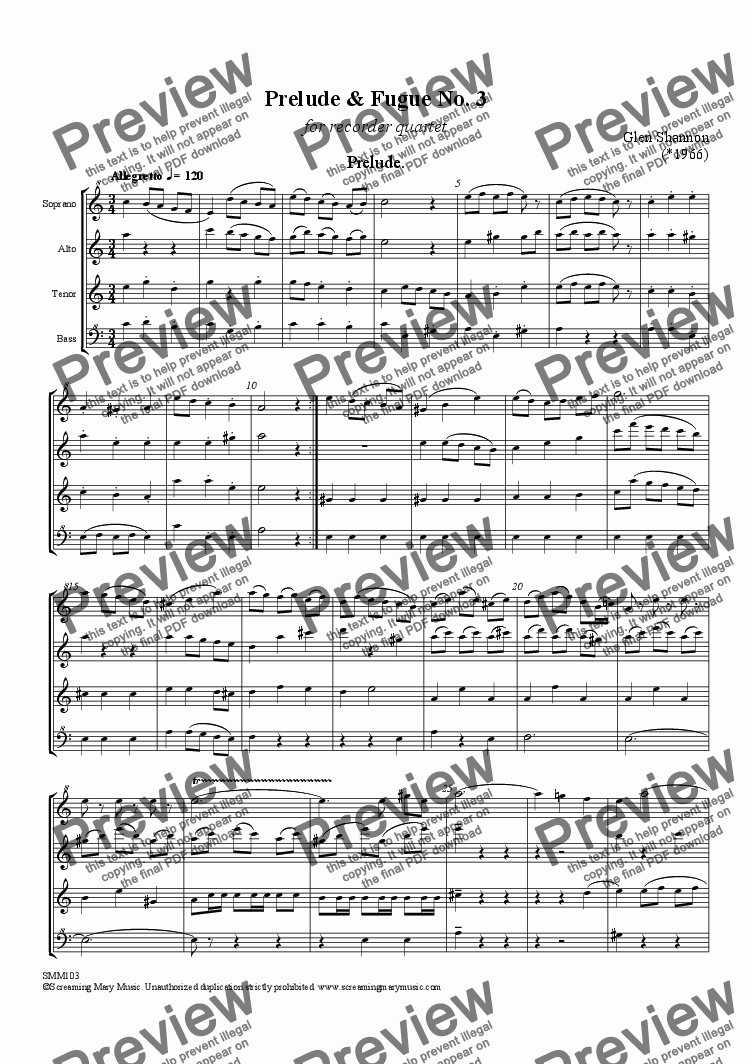 page one of Prelude & Fugue No 3 for Recorder QuartetASALTTEXT