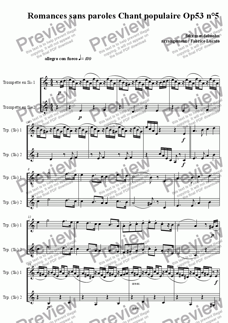 page one of chant populaire OP53 n°5 DUO TROMPETTE ASALTTEXT