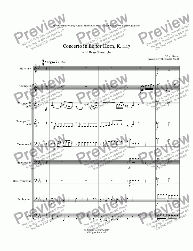 page one of Mozart: Concerto 3 in Eb for Horn - Full Score
