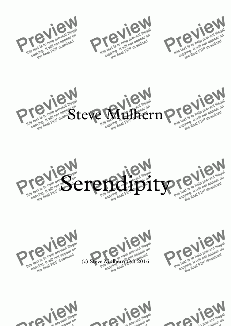 page one of Serendipity