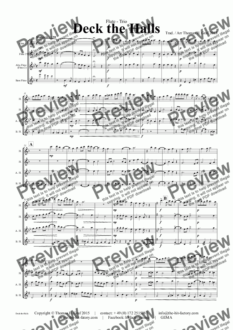 page one of Deck the halls - Christmas Carol - Polyphonic - Flute Quartet