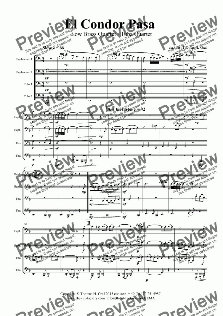 page one of El Condor pasa - Peruvian Folk Song - Low Brass Quartet/Tuba Quartet