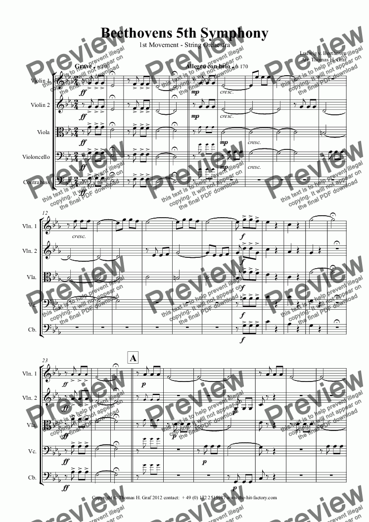page one of Beethovens 5th Symphony - 1st Movement - String Orchestra