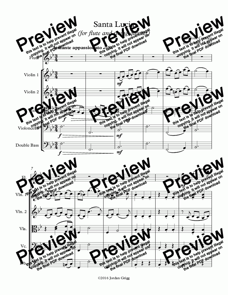 page one of Santa Lucia (for flute and string quintet) - Score and parts