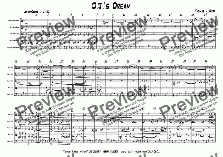 page one of D.J.s Dream - Latin/Samba - Saxophone Quintet