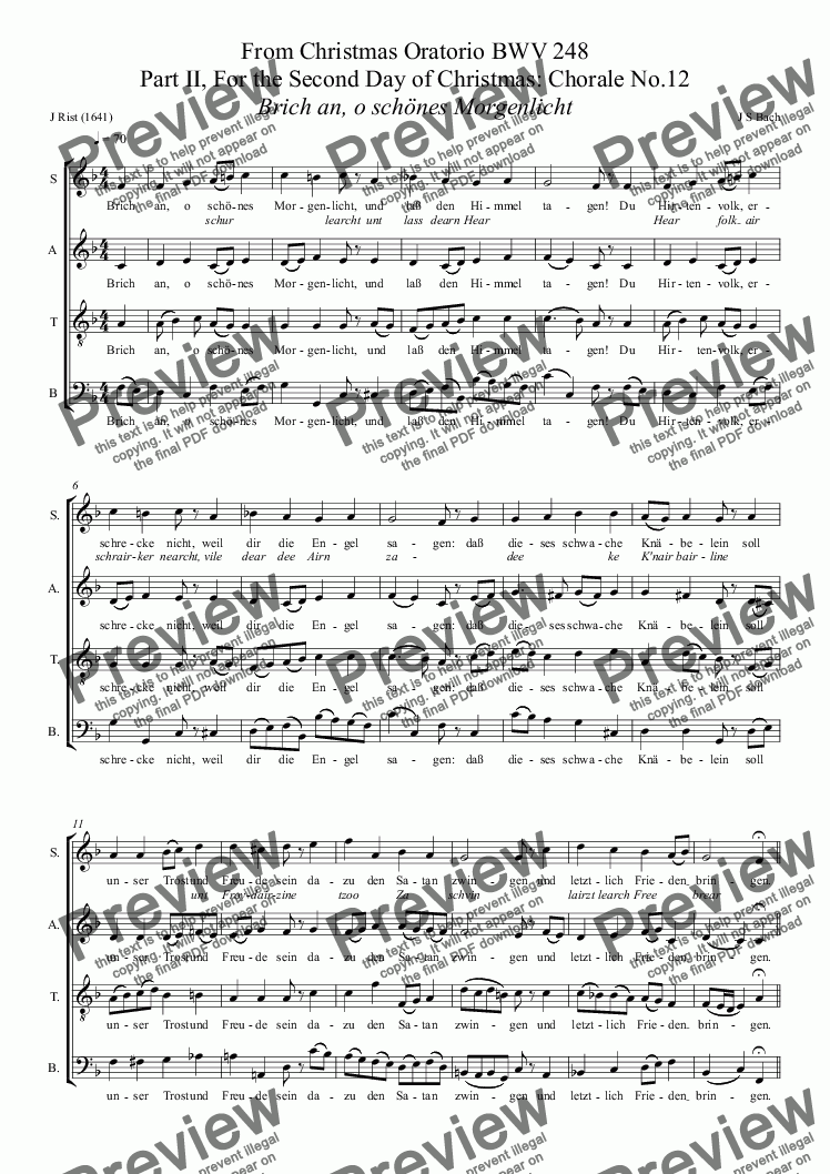 page one of BACH - From Christmas Oratorio BWV 248 Part II, For the Second Day of Christmas: Chorale No.12 Brich an, o schönes Morgenlicht (SATB Christmas Choir - previously free)ASALTTEXT