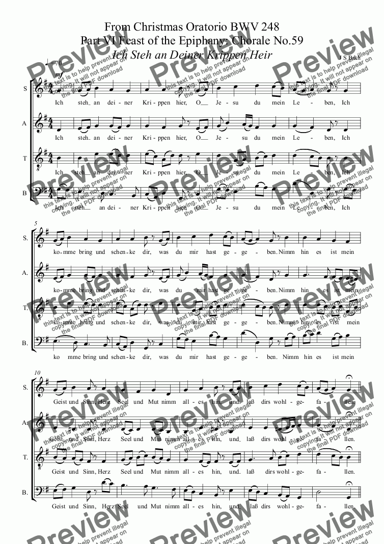 page one of BACH - From Christmas Oratorio BWV 248 Part VI Feast of the Epiphany: Chorale No.59: Ich Steh an Deiner Krippen Heir (SATB  Christmas Choir - previously free)ASALTTEXT