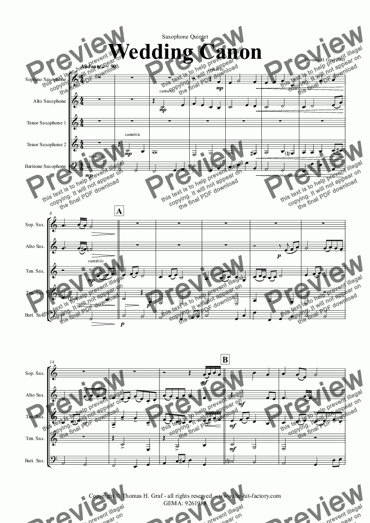 page one of Wedding Canon - Festive Concert Piece - Saxophone Quintet