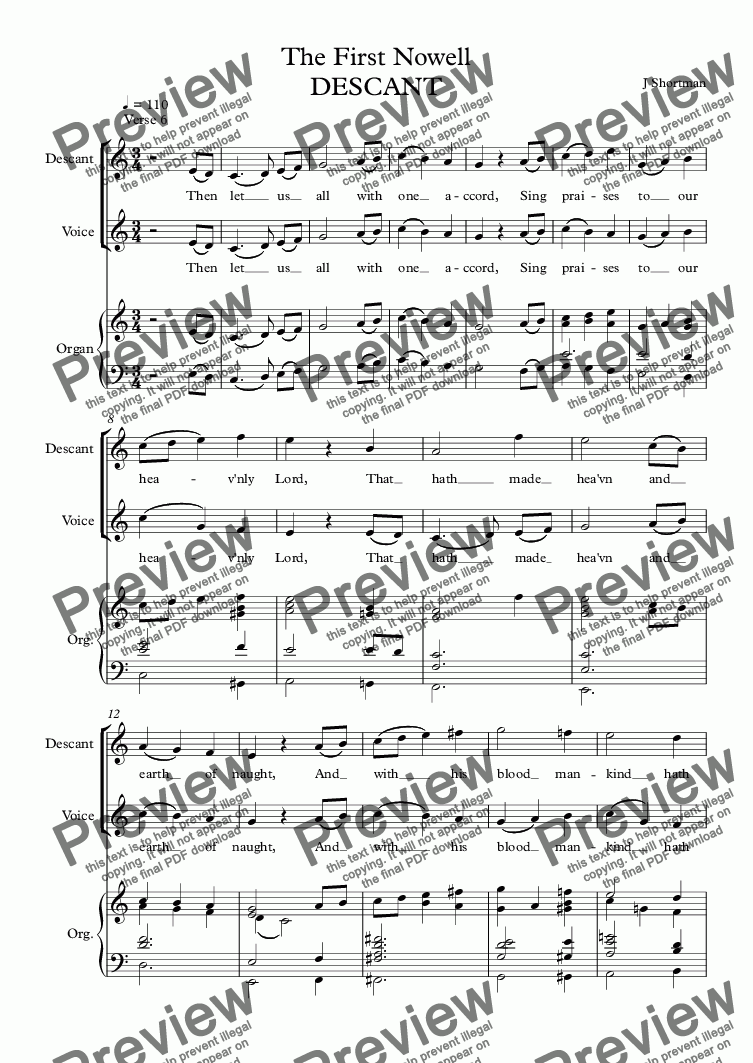 page one of CHRISTMAS CAROL DESCANT: The First Nowell