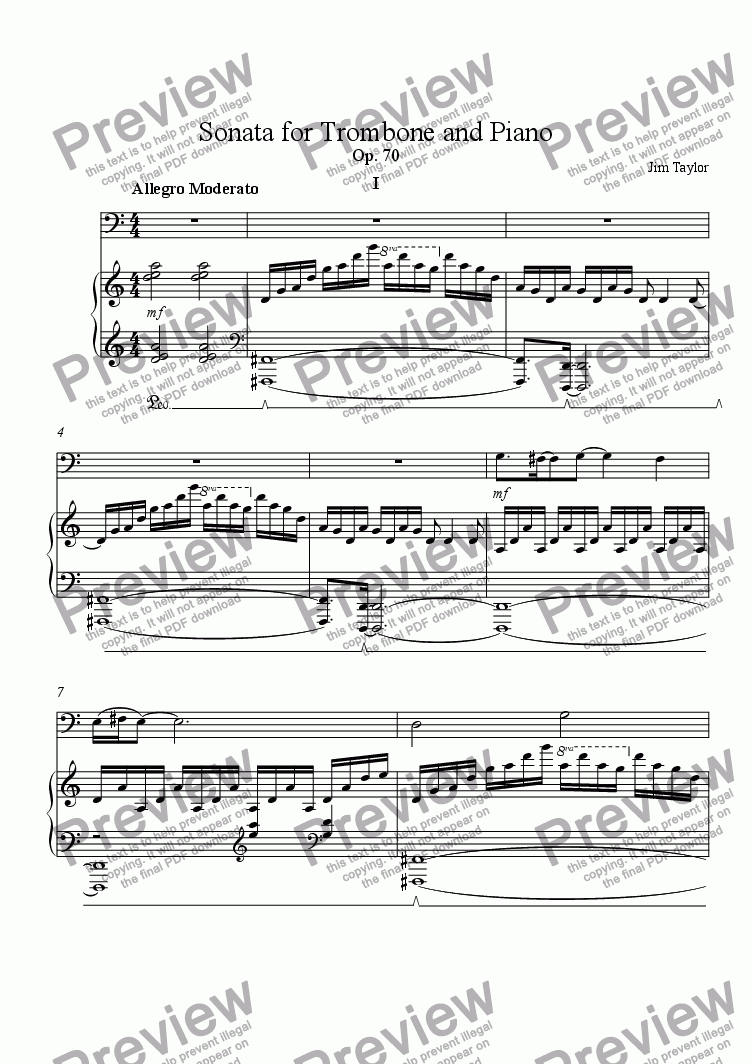 page one of Sonata for Trombone and Piano