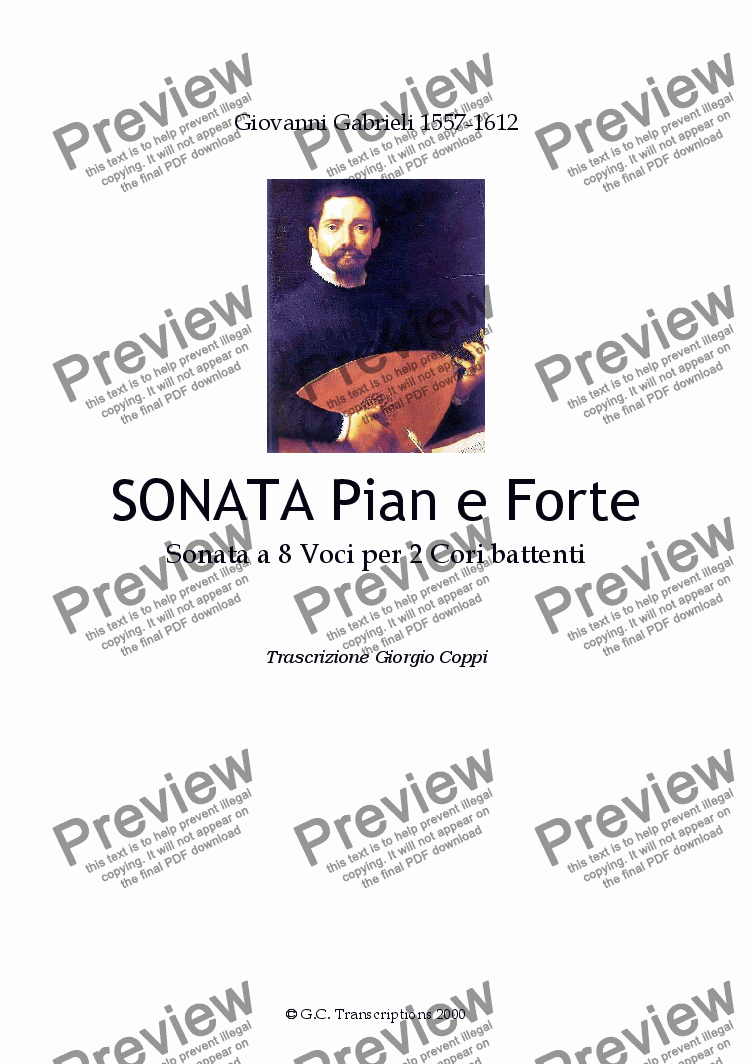 page one of Sonata pian e forte - G.GabrieliASALTTEXT