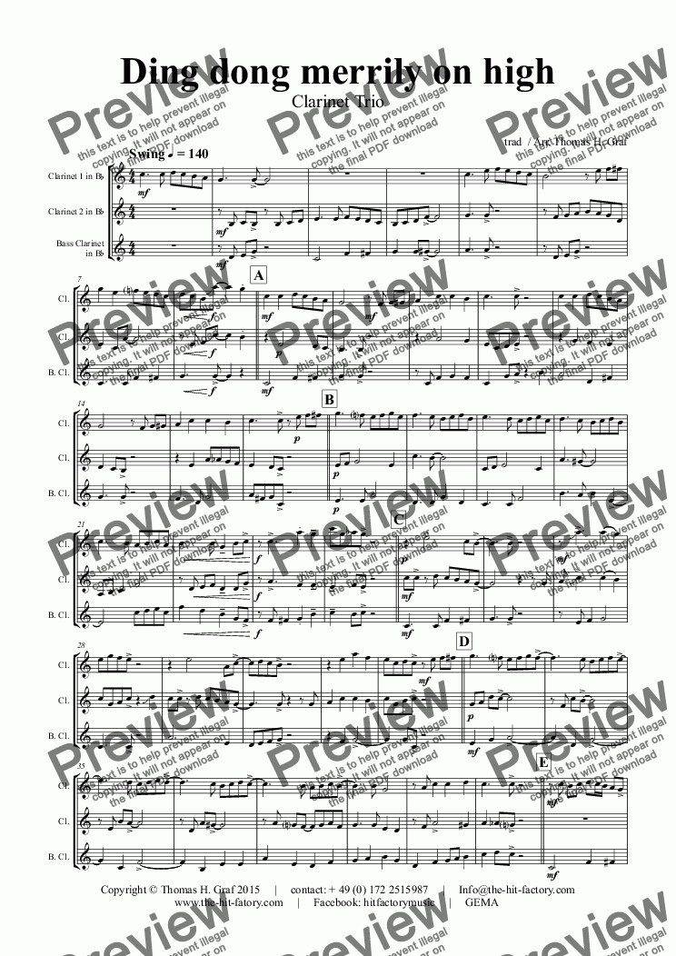 page one of Ding dong merrily on high - Swing - Clarinet TrioASALTTEXT