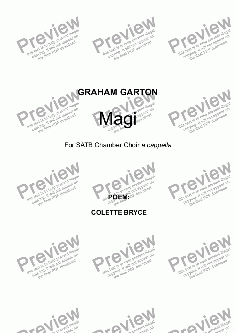 page one of CHRISTMAS SONG - 'Magi' for SATB Chamber Choir a cappella. Original Score. (See 6-stave open Score) Poem. Well-known Contemporary British Poet COLETTE BRYCE (b.1970).    Spirit-ual. ASALTTEXT