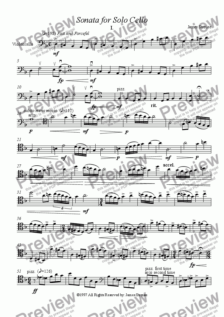 page one of Sonata for Solo Cello Movement I. Fast and Forceful