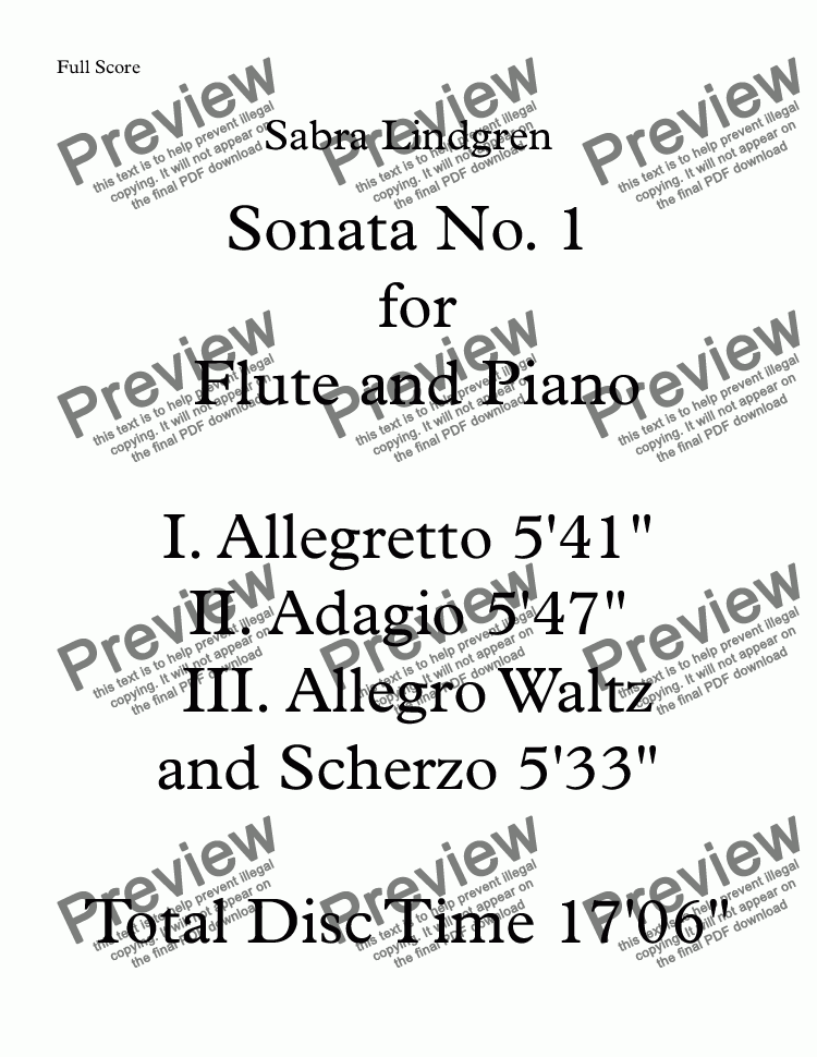 page one of Sonata No. I for Flute and Piano III. Allegro Waltz and ScherzoASALTTEXT