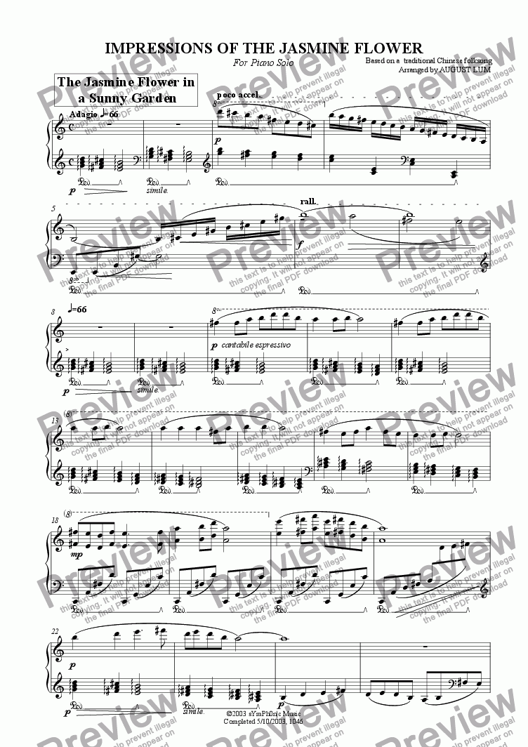 page one of IMPRESSIONS OF THE JASMINE FLOWER (Piano solo)ASALTTEXT