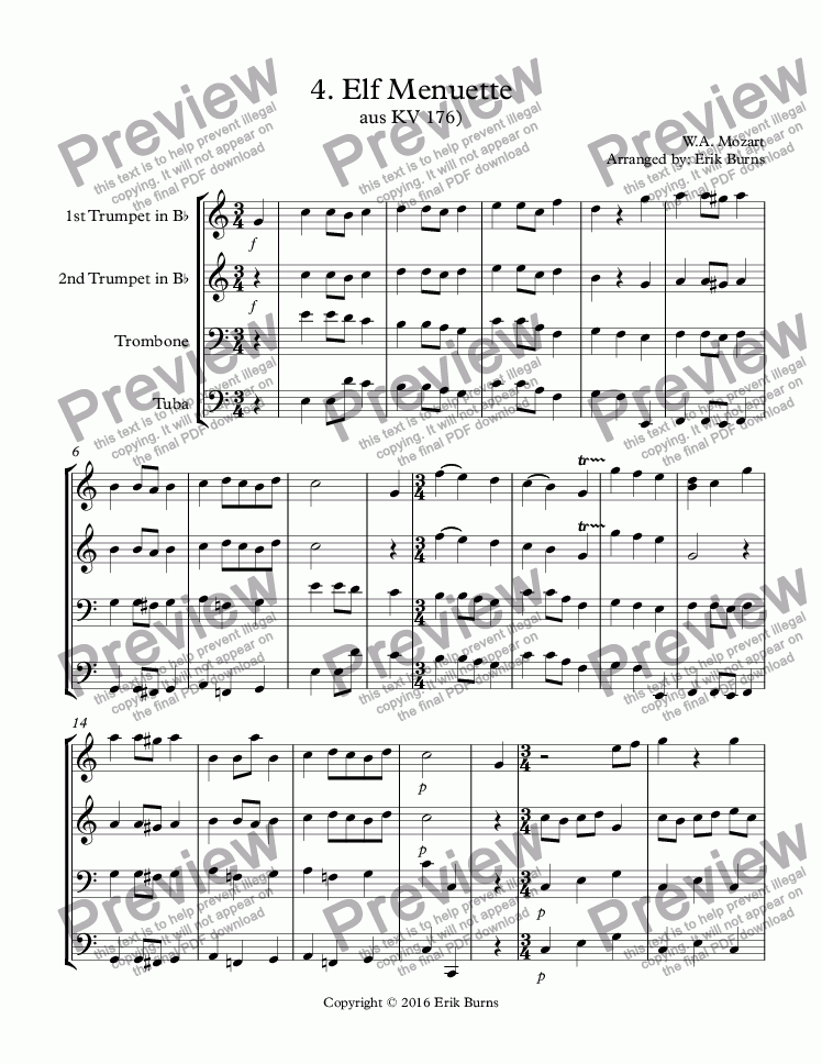 page one of WA Mozart 4 Menuette score ASALTTEXT
