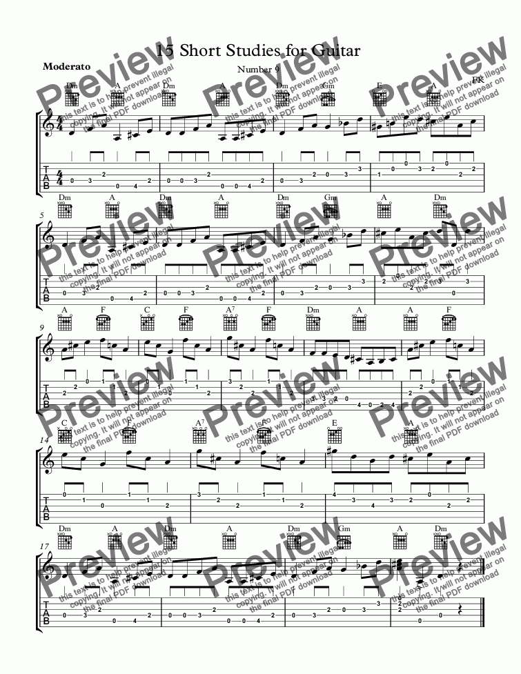 page one of 15 Short Studies for Guitar