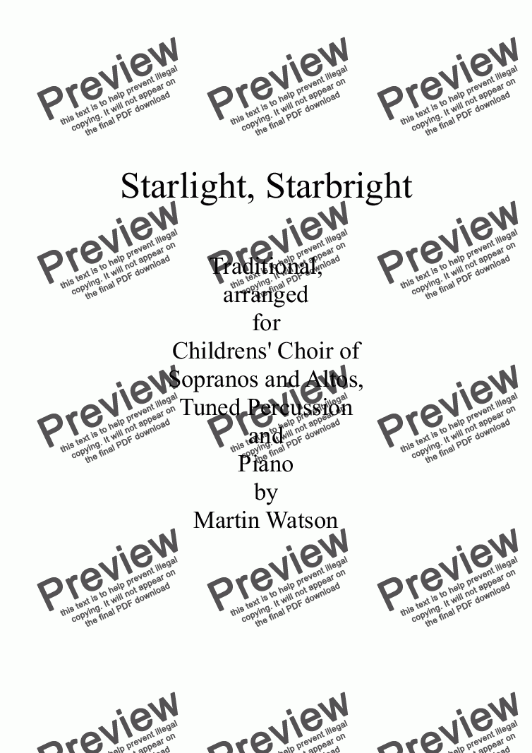 page one of Starlight, Starbright for Children's Choir of Sopranos and Altos, Piano and PercussionASALTTEXT